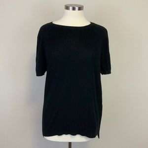 Everlane Black Cotton Knit Short Sleeve Sweater Sz